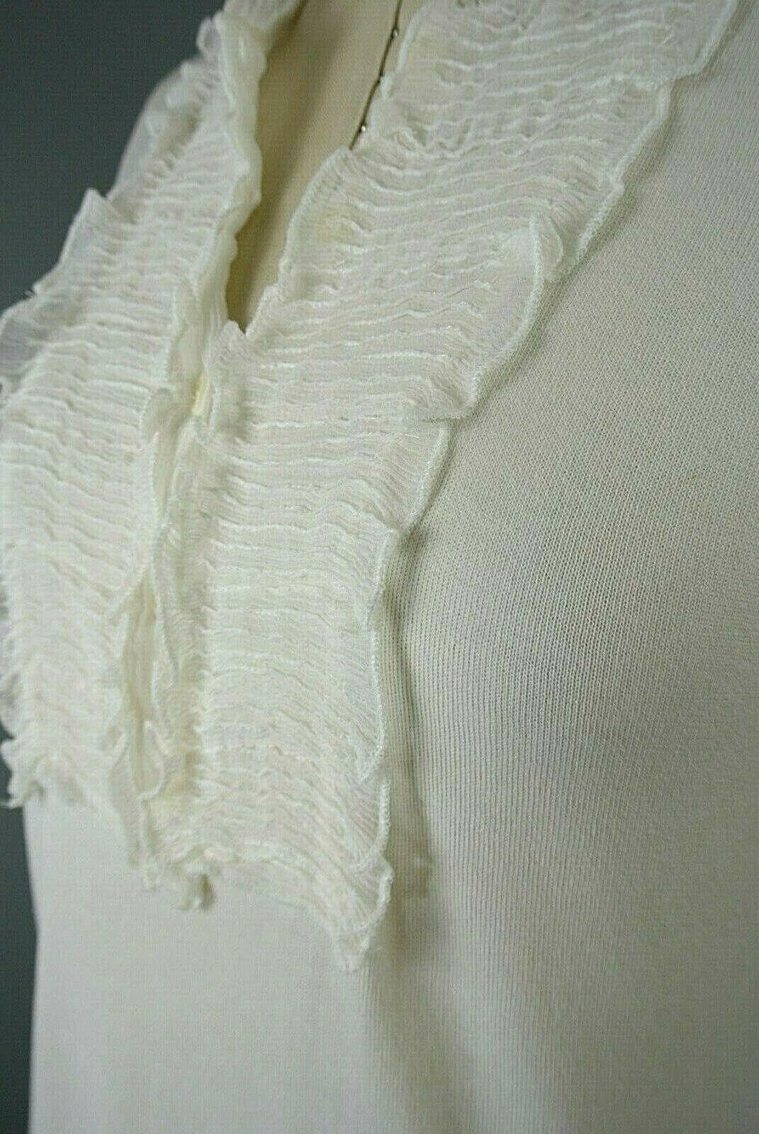 BCBG MAXAZRIA Silk/Cotton Blouse M Ivory Ruffle S… - image 4