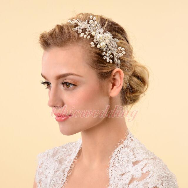 Crystal Vintage Style Wedding Side Tiara Pearl Crystal Headband Hairpin  Clip NEW 8b8f5e95564