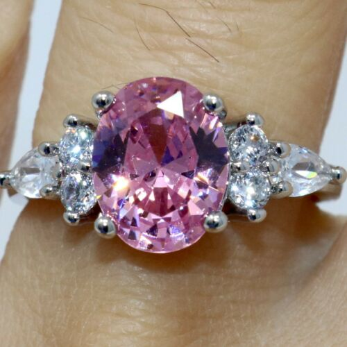 2.5 CT Oval Pink Sapphire CZ Halo Ring Women Jewelry 14K Gold Plated Size 6 to 9
