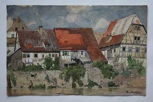 Häuser An Der Enz Altstadt Beisigheim Vivid And Great In Style Gottfried Von Hoven 1868-1921 Aquarell