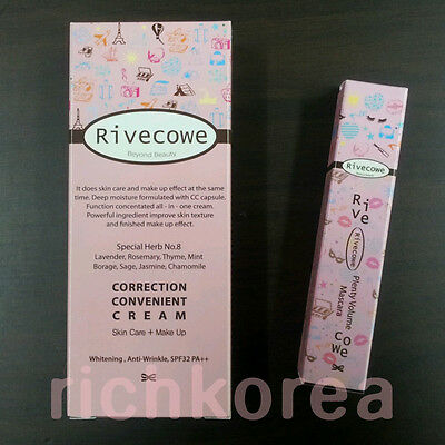 CC Cream skincare makeup Foundation + Plenty Volume Mascara Black rivecowe korea