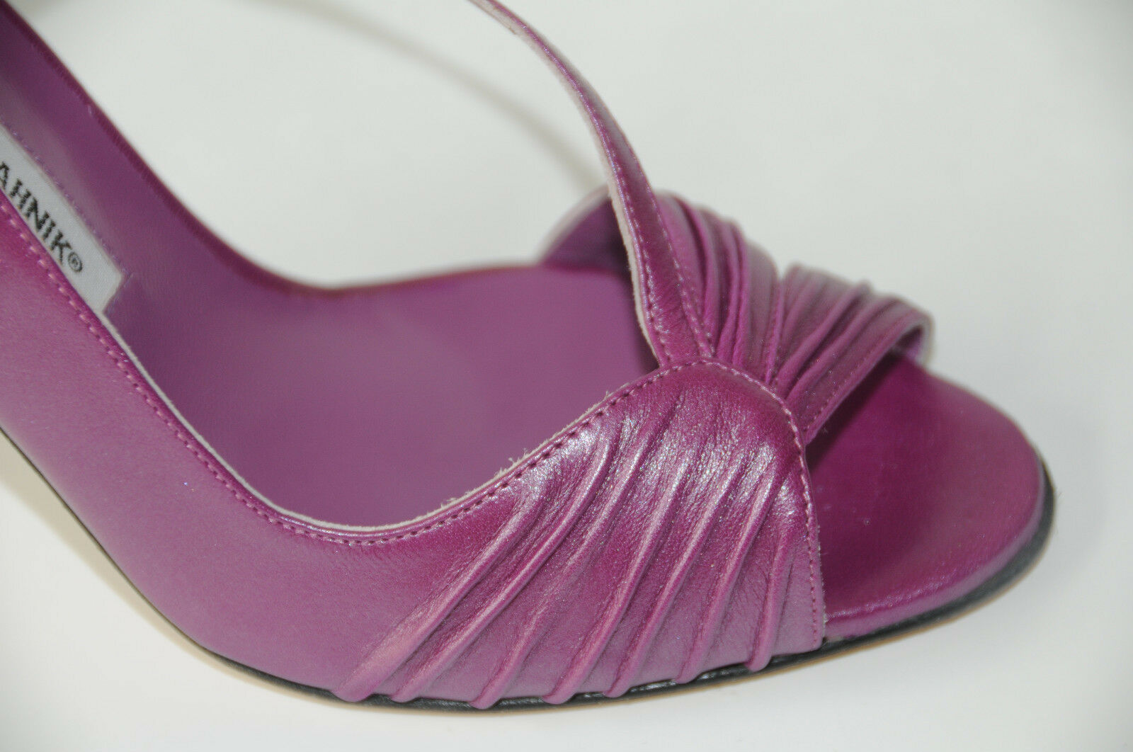 $925 New Manolo Blahnik Riccia Riccia Riccia 105 Purple Sheen  Leder schuhes Sandals 40.5 62c599
