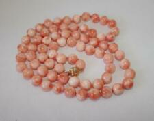 VINTAGE GENUINE  ANGEL SKIN CORAL BEAD NECKLACE  14K GOLD CLASP 81.8 grams