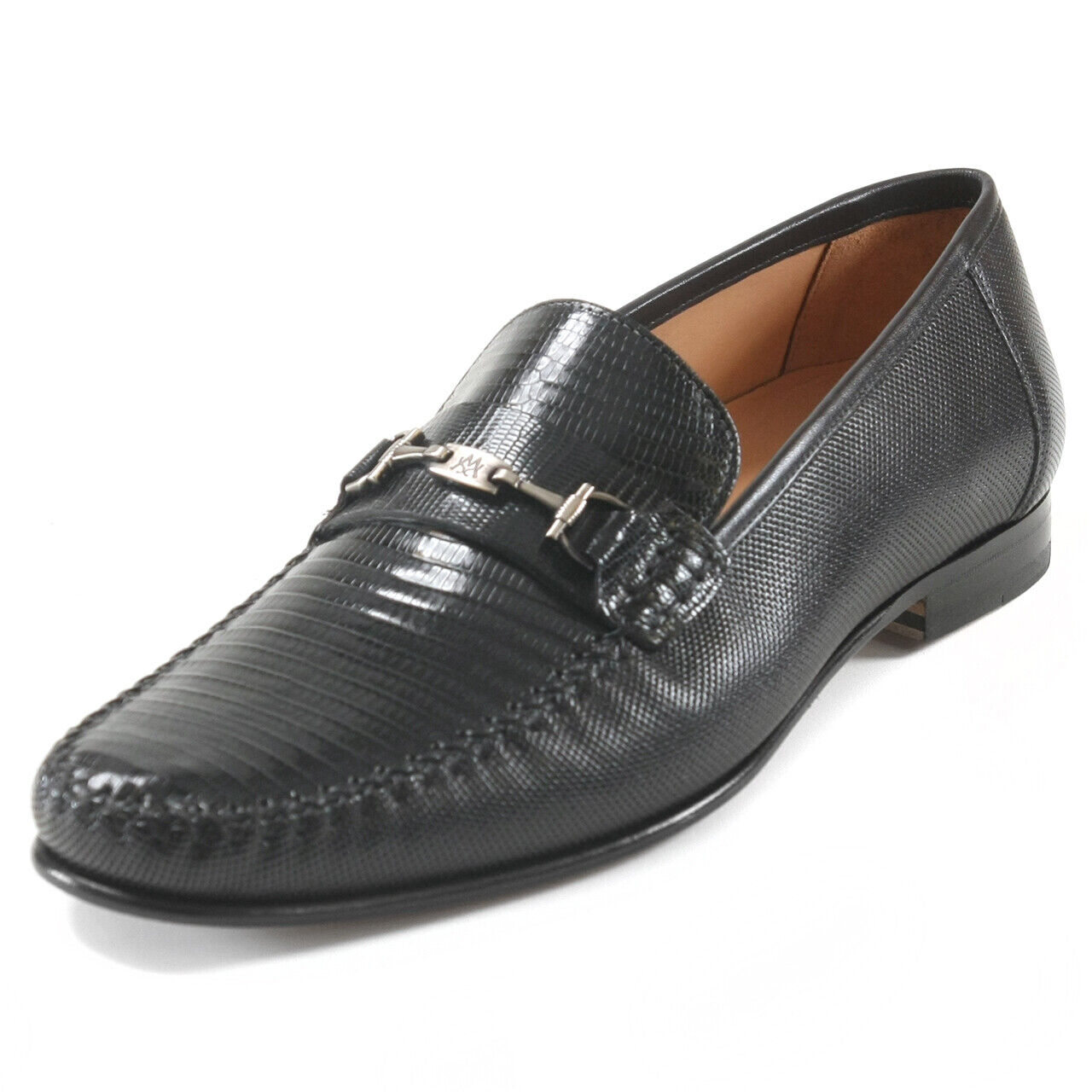 Mezlan Sileno Black Lizard & Leather Loafers