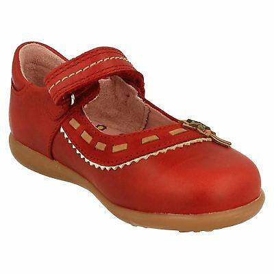 Girls Start-Rite Leather Rip-Tape Shoes- Ella - Red Leather UK4.5G