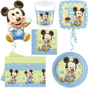 baby micky maus kindergeburtstag babyshower party mickey mouse 1 geburtstag set ebay. Black Bedroom Furniture Sets. Home Design Ideas