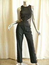 GIANNI VERSACE *VINTAGE* Silk LACE Tuxedo Stripe Top Blouse Pant Outfit Suit M