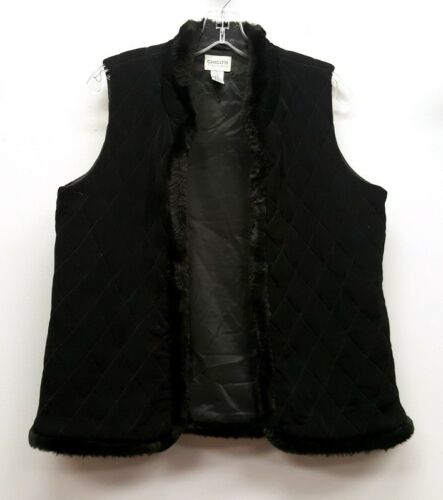 1 Fur Vest Sort Størrelse Trim Chicos Quiltet Kroge Øje Faux Bp5Fx1q