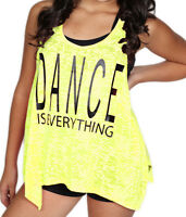 Adult Dance Tank Top Shirt In Neon Yellow Burnout Material Sizes S M L