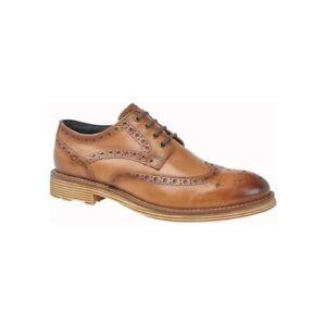 Roamers-Josiah-Lustre-Cuir-Veritable-Smart-Lacets-Richelieu-a-Chaussures-Oxford-Tan