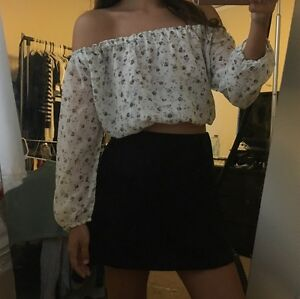 795a5978e40dd new! Brandy Melville Sheer Cream floral off shoulder Maura top sz S ...