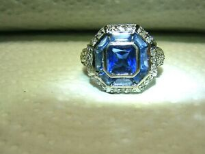Vtg-Sterling-Silver-Sapphire-Clear-CZ-Ring