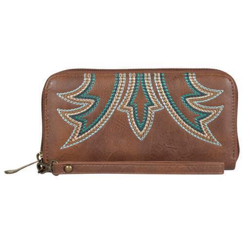 Justin Western Womens Wallet Stitch Zip Around Caramel 1867215W