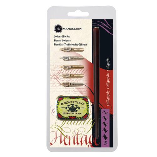 Manuscript Leonardt Oblique Calligraphy Dip Pen Set With Handle 5 Nibs /& Tin 076