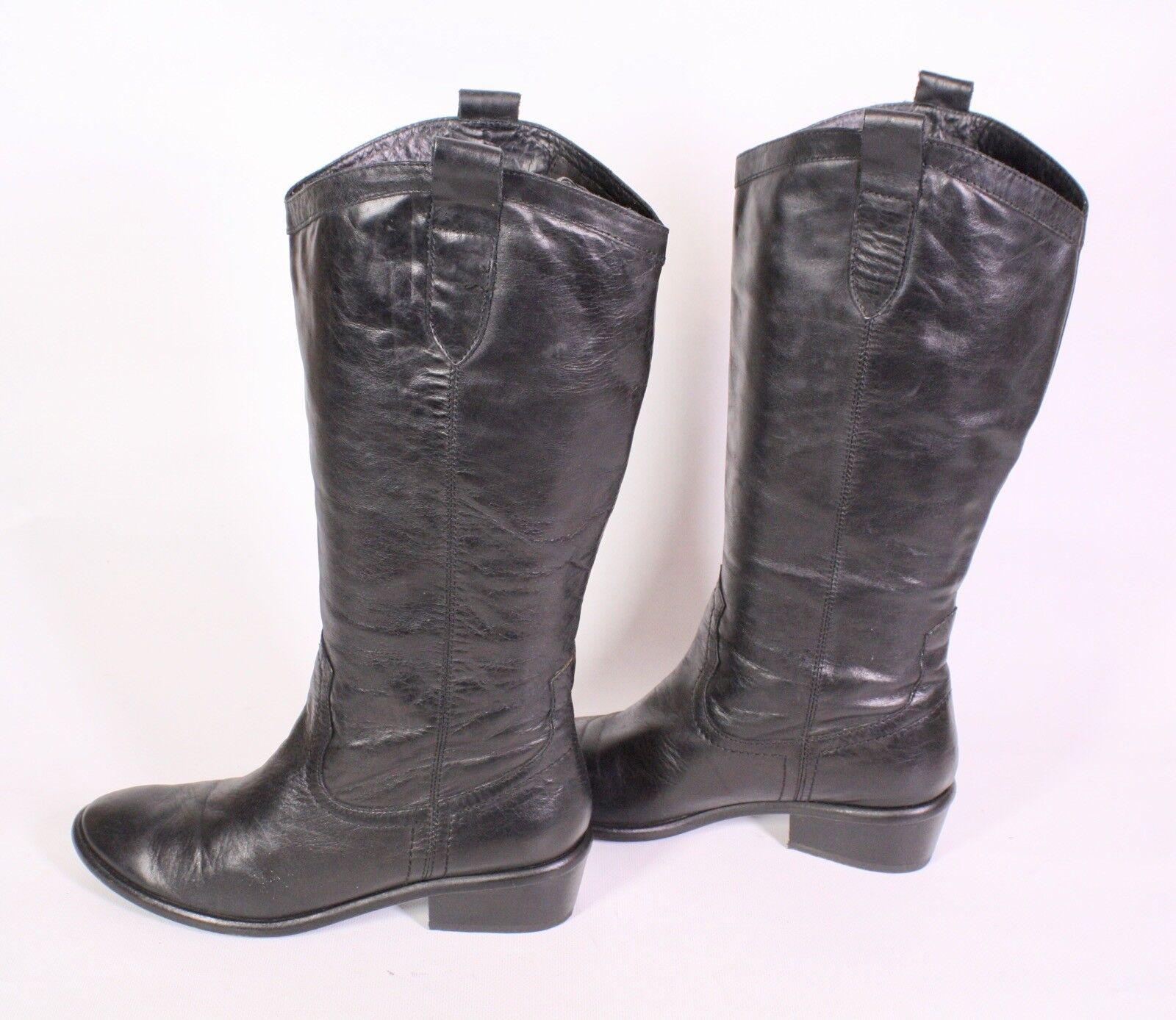 1S Buffalo Damen Stiefel Boots Leder schwarz Gr. 39 Westernlook Blockabsatz