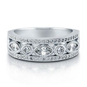 Image Is Loading Sterling Silver 925 Marquise Art Deco Anniversary Wedding
