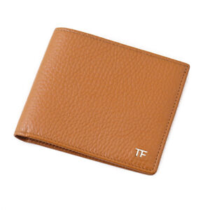 New-390-TOM-FORD-Tan-Grained-Leather-Classic-Bifold-Wallet-with-Gold-Logo