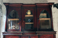 Antique Decorative c1840 Gothic Revival Stained Pine Breakfront Bookcase Cabinet