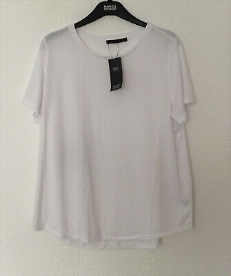 M/&S Collection Size 14 22 Pure Cotton Short Sleeve Top  Bnwt Pink Mix