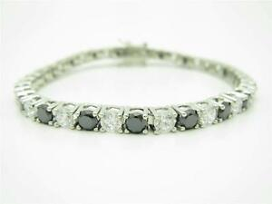 PLATINUM-STERLING-SILVER-DIAMOND-SET-BLACK-amp-WHITE-SAPPHIRE-TENNIS-BRACELET-GIFT