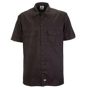 Dickies-Short-S-Work-Shirt-Arbeitshemd-Freizeithemd-Dark-Brown