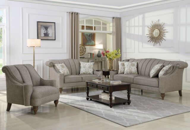 DROP 4-Piece Traditional Brown Leather Sofa Living Room Set ...