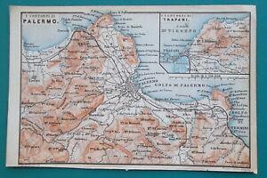 SICILY-Palermo-Trapani-Environs-Italy-1883-MAP-Baedeker-4-x-6-034-10-x-15-5-cm