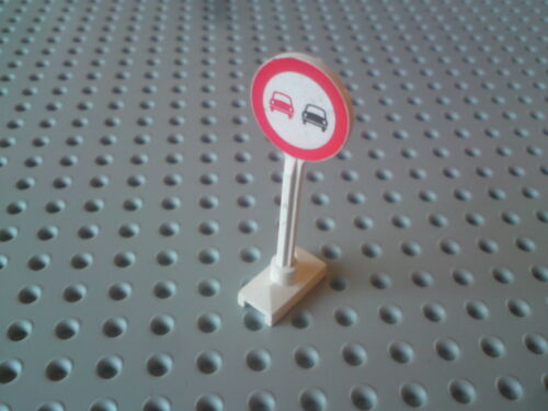White x1 Lego Road Sign Circle /'No Overtaking/' in Red Border 14pb05