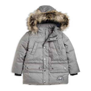 516ffd84bb43 Boys Winter Warm Lindex Grey Padded Jacket with Faux Fur Hood Trim ...