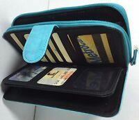Gold Coast Ladies All In One Wallet Clutch Organizer Photo/checkbook Holder Blue
