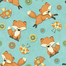 Fabric Foxes & Mushrooms on Turquoise Cotton by the 1/4 yard BIN