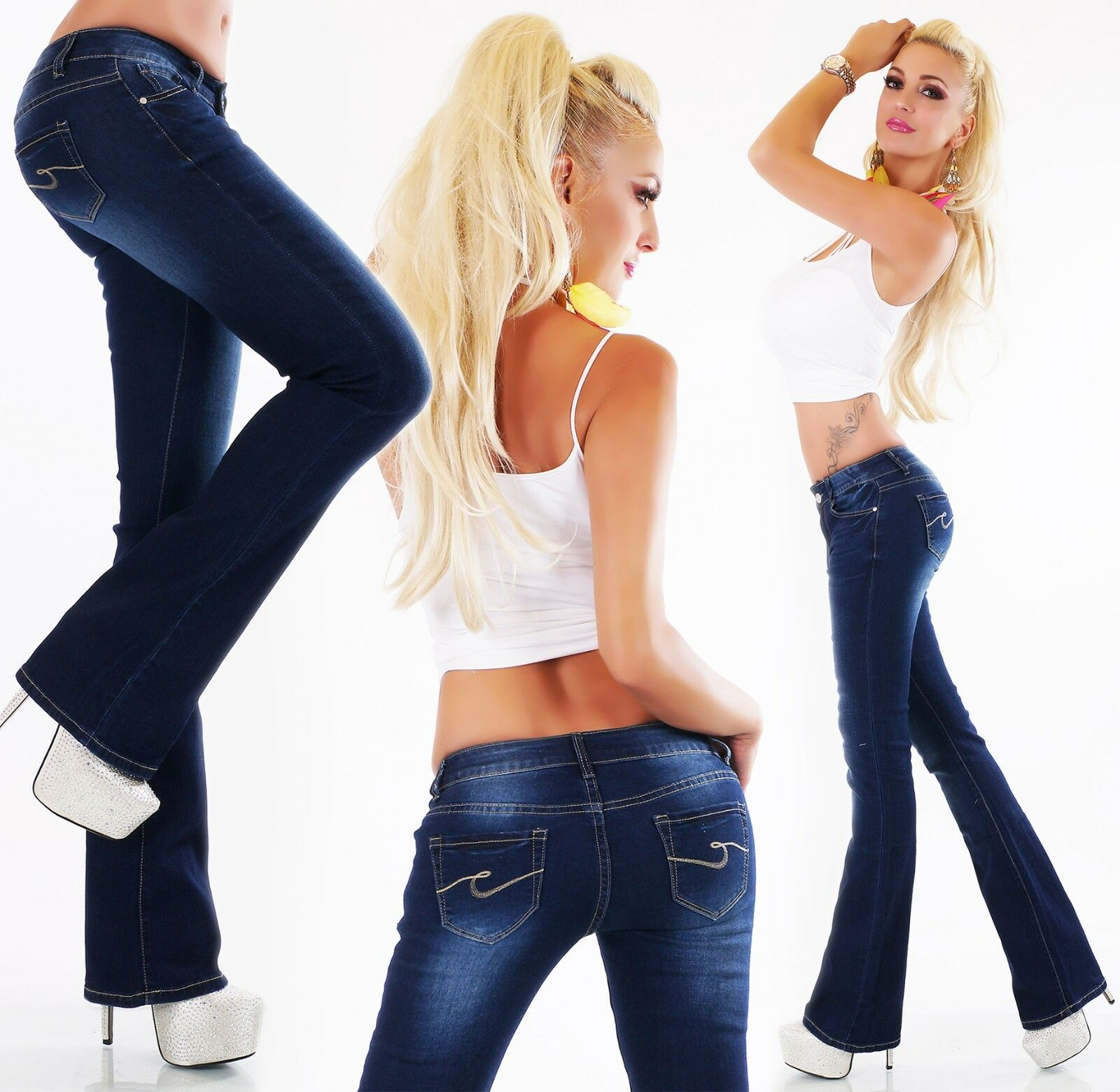 Bootcut Women's Jeans Trousers Flare Low-Rise bluee Denim Xs S M L XL