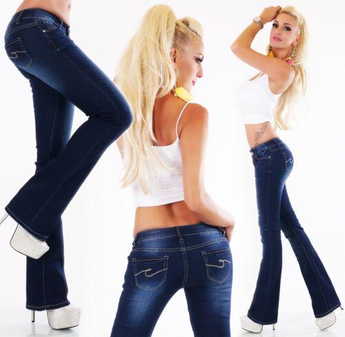 Bootcut Donna jeans pantaloni colpo hüftjeans colpo PANTALONI BLUE DENIM XS S M L XL