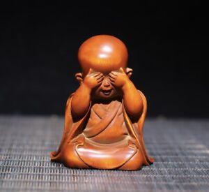 Collect Boxwood Japanese Netsuke carve monk meditation buddha Statue figurines