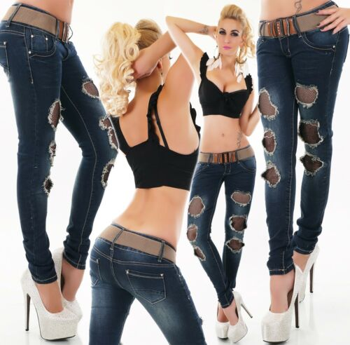Donna Jeans Anca Pantaloni Jeans A Sigaretta destroyed crepe tessuto rete Blu Scuro Cintura