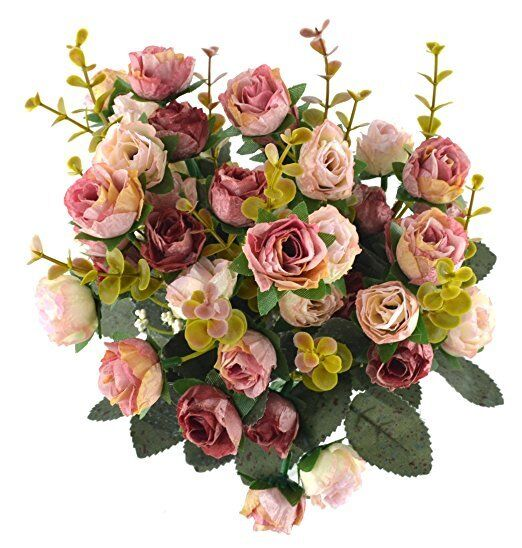 samyo 21 heads artificial silk rose dried flowers arrangement gift
