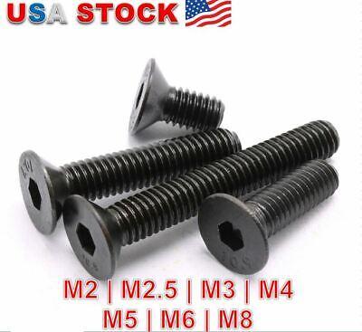 Hex Socket Bolts Countersunk Flat Head Screws M2,M3,M4,M5,M6 Black Alloy Steel