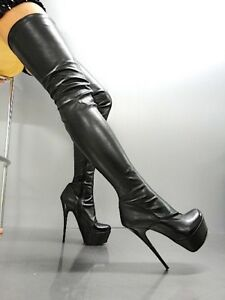 MORI PLATFORM OVERKNEE HEELS ITALY STIEFEL BOOTS STRETCH LEATHER BLACK NERO 43
