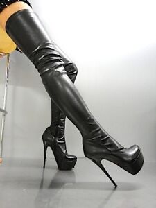 Black Leather Stiefel Heels Nude Nero Platform 45 Boots Mori Stretch Overknee w4x86Zn4I0