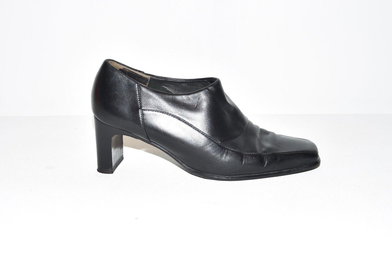 Black Leather PAUL GREEN Slip On Slim Mid Heel Court Women's shoes Size 3.5 36.5