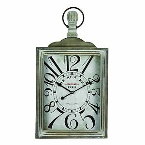 LARGE SQUARE VINTAGE NEW ERA POCKET WATCH ANTIQUE WALL CLOCK H