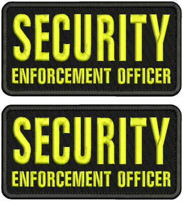 POLICE HIGHWAY PATROL EMB PATCH 4X10 AND 3X6 HOOK ON BACK BLK//YELLOW