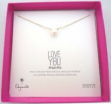 "DOGEARED Love You Mom Pearl 18"" Gold Dipped Necklace Handmade in the USA"