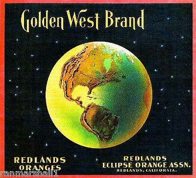 Redlands San Bernardino Golden West Earth Orange Citrus Fruit Crate Label Print