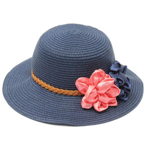 Women Ladies Straw Summer Trilby Beach Sun Hat Flower Elegant Floppy Travel Cap