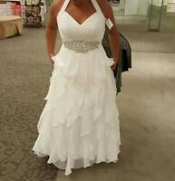 Unworn Galina David's Bridal Wedding Dress & Rhinestone Sash Size 14w Gown