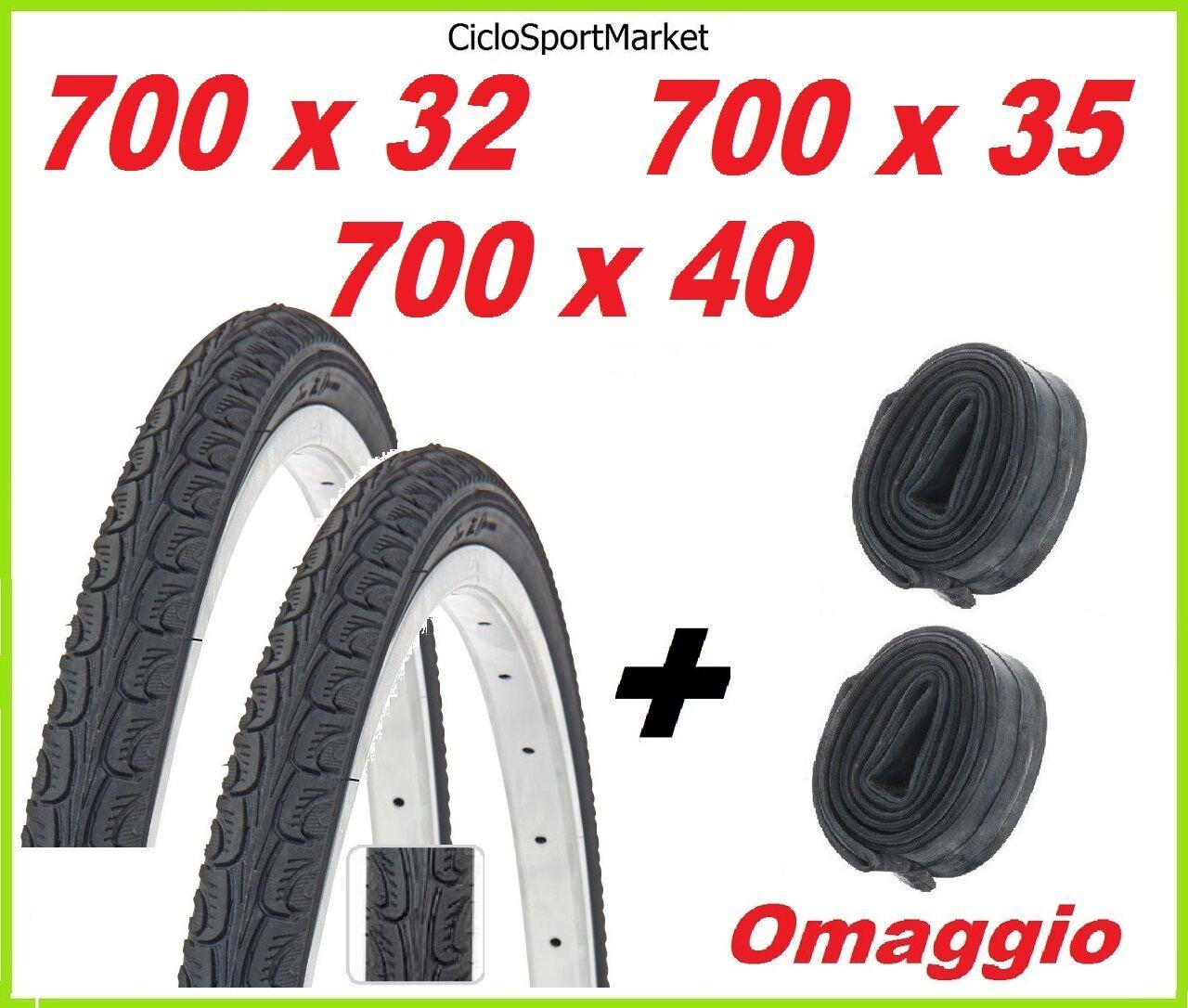 2 x Tyre 700 x 32 - 700 x 35 - 700 x 40 bicycle + 2 x INNER TUBE
