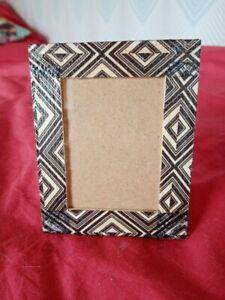 Cadre photo 8 cm X 10 cm motif géométrique noir et blanc Fait main modèle unique