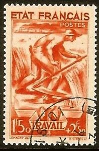 FRANCE-TIMBRE-STAMP-YVERT-N-577-034-TRAVAIL-1F50-2F50-ROUGE-034-OBLITERE-TB