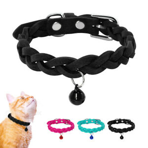 Soft-Suede-Small-Dog-Braided-Collars-for-Pet-Puppy-Cat-amp-BellChihuahua-Pug-XS-M